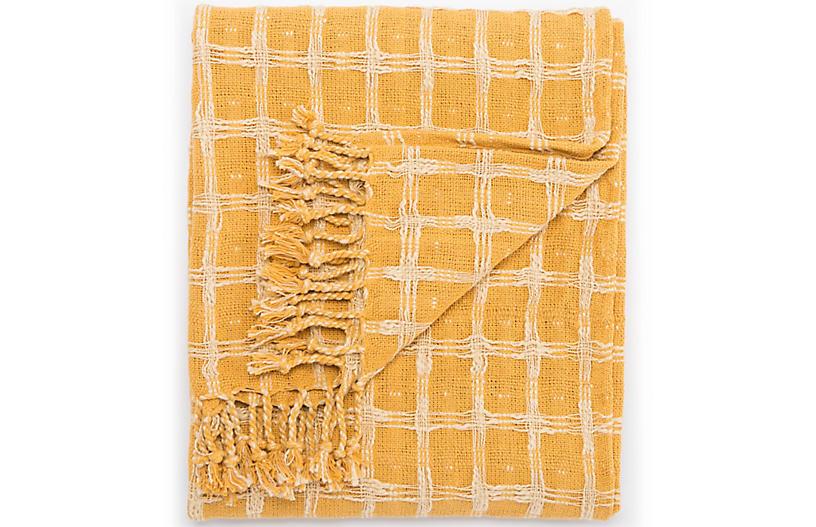 Sime Cotton Throw - Yellow/Cream