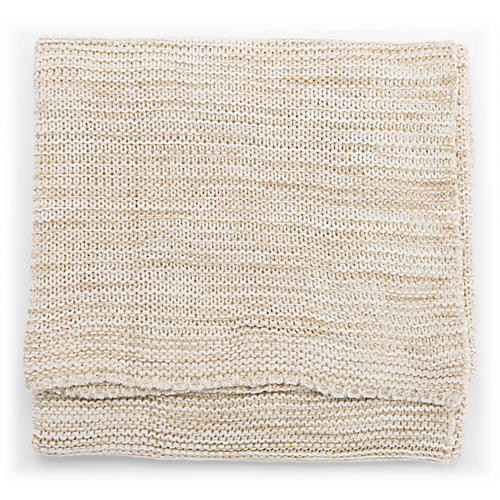 Deyn Throw, Tan/White