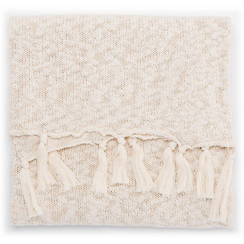 Aqua Cotton Throw, Cream/White