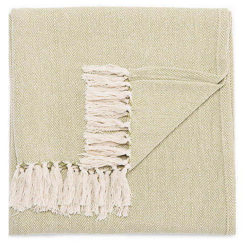 Nocc Cotton Throw, Green/Cream
