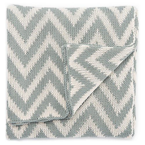 Torru Cotton Throw, Blue/White