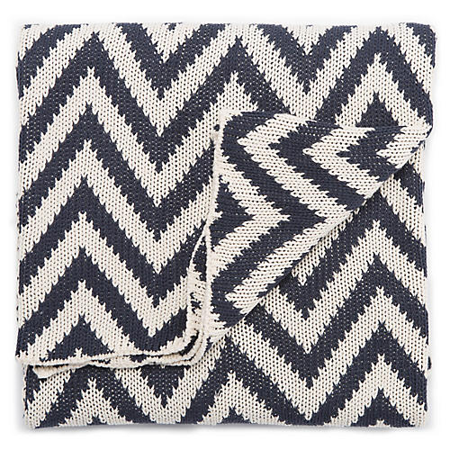 Torru Cotton Throw, Navy/White