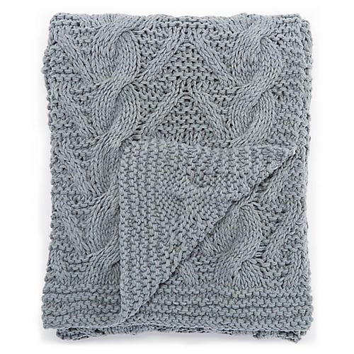 Isn Cotton Throw, Blue/Gray