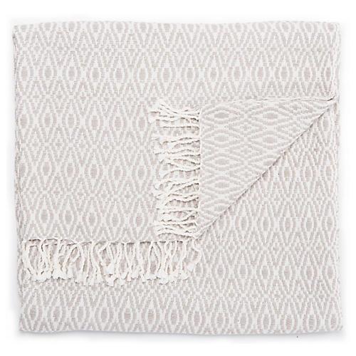 Thea Cotton Throw, Ash/White