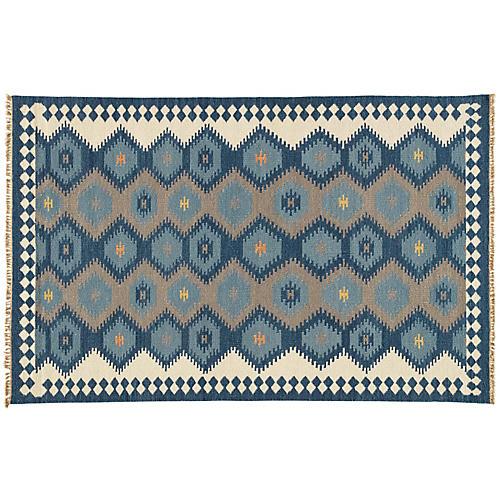 Aegir Flat-Weave Rug, Blue/Gray