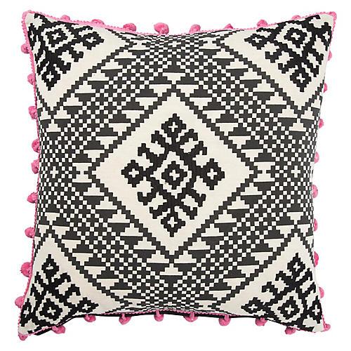 Bue 20x20 Pillow, Black/Pink