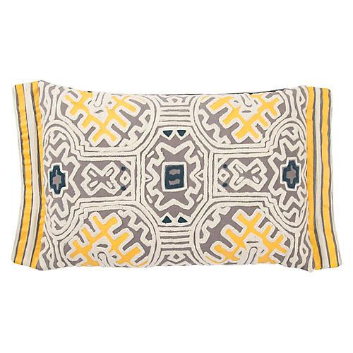 Mau 14x20 Lumbar Pillow, Gray/Yellow