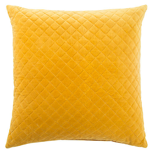 Spi 22x22 Pillow, Yellow Velvet