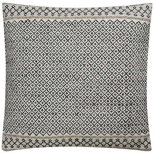 Scoa 18x18 Pillow, Ivory/Charcoal