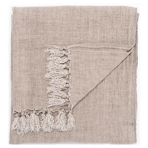 Besle Linen Throw, Taupe