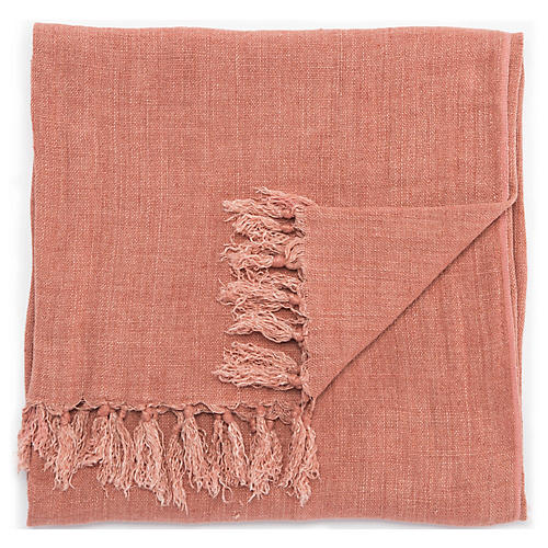 Besle Linen Throw, Pink