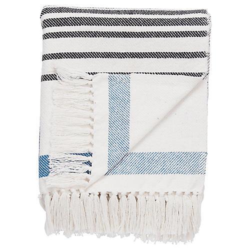 Nerra Cotton Throw, Blue/White