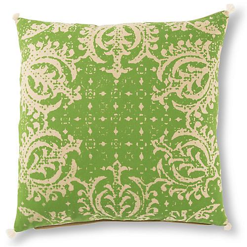 Mang 22x22 Pillow, Green/Beige
