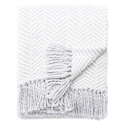 Herringbone Throw, White/Light Gray