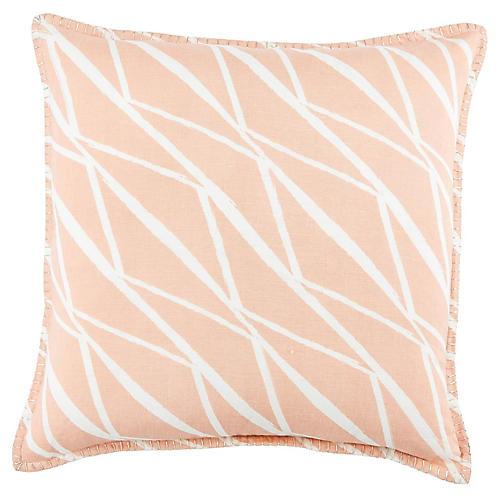 Deri 22x22 Pillow, Pink/White