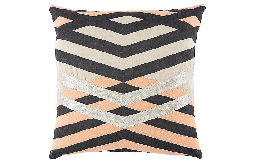 Ril 22x22 Pillow, Cream/Pink Linen