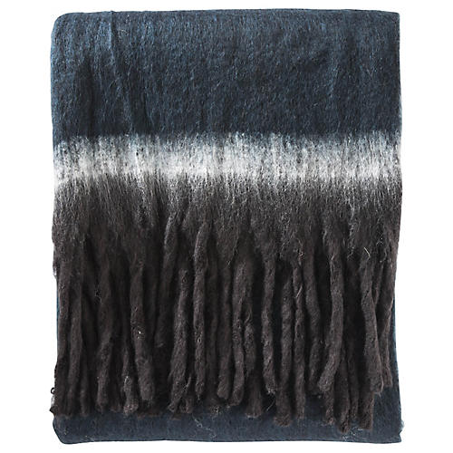 Border-Stripe Throw, Blue/Black