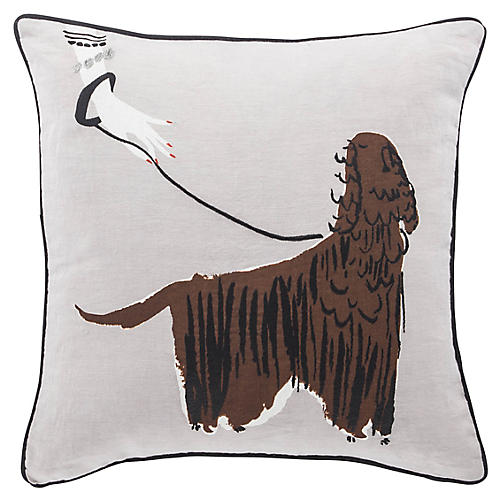 Dog Walker 18x18 Pillow, Mocha Linen