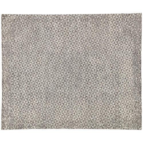 Bosley Hand-Knotted Rug, Dark Gray/Ivory