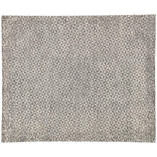 Bosley Hand-Knotted Rug, Dark Gray/Ivory