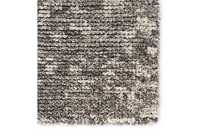Bosley Hand Knotted Rug Dark Gray Ivory Contemporary