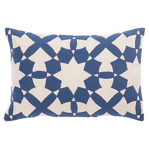Dicce 16x24 Lumbar Pillow, Blue/Ivory Linen