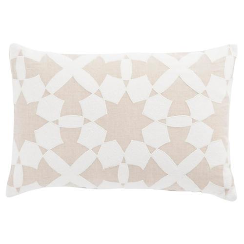 Dicce 16x24 Lumbar Pillow, Beige/Ivory Linen