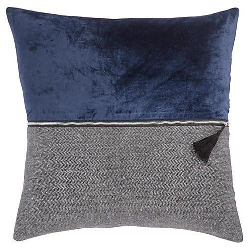 Kurt 22x22 Pillow, Blue/Gray