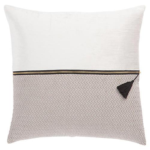 Kurt 22x22 Pillow, White/Ash
