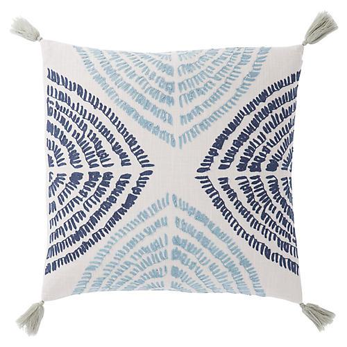 Tomi 22x22 Pillow, Blue/Silver
