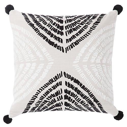 Tomi 22x22 Pillow, Black/Silver