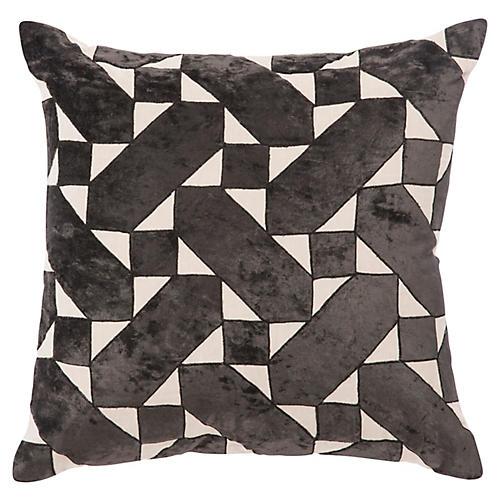 Tem 22x22 Pillow, Black/Ivory Linen