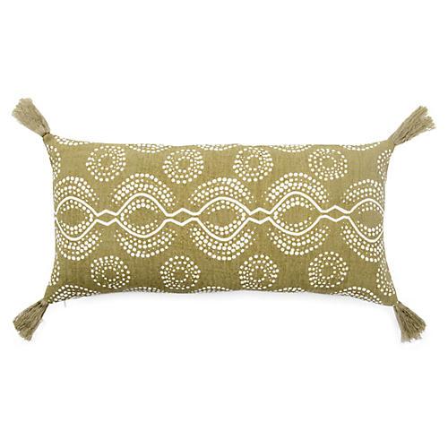 Sani 10x21 Lumbar Pillow, Green/White Linen