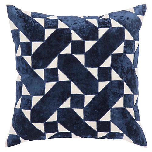 Tem 22x22 Pillow, Blue/Ivory Linen