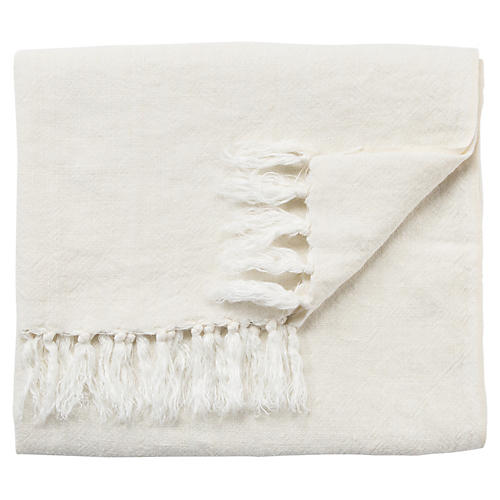 Lisa Linen Throw, Ivory