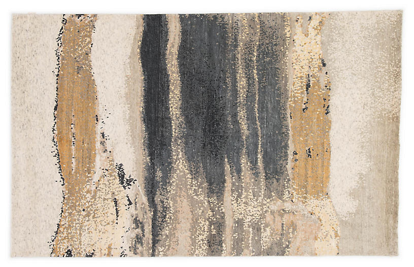 Migonne Hand-Knotted Rug, Gold/Gray