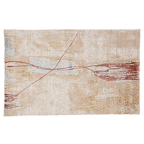 Gavaughn Hand-Knotted Rug, Gold/Pink