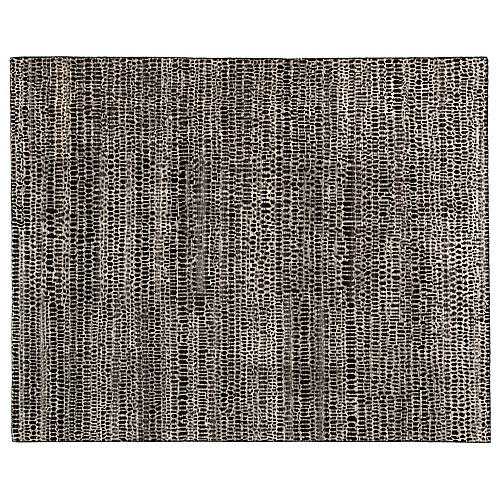 Kinetic Hand-Knotted Rug, Black/Ivory