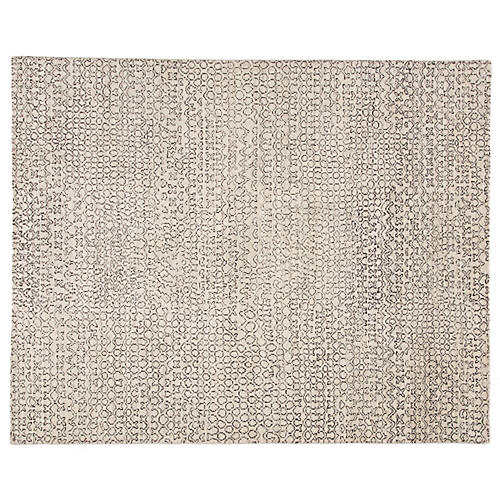 Reverb Hand-Knotted Rug, Ivory/Black