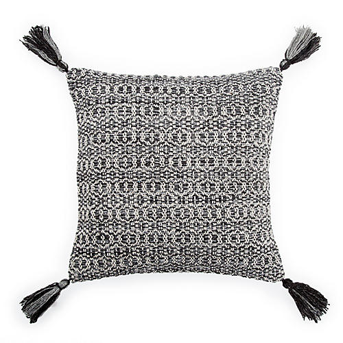 Trellis 18x18 Tassel Pillow, Black/Gray