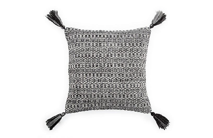 Trellis 18x18 Tassel Pillow, Black/Gray