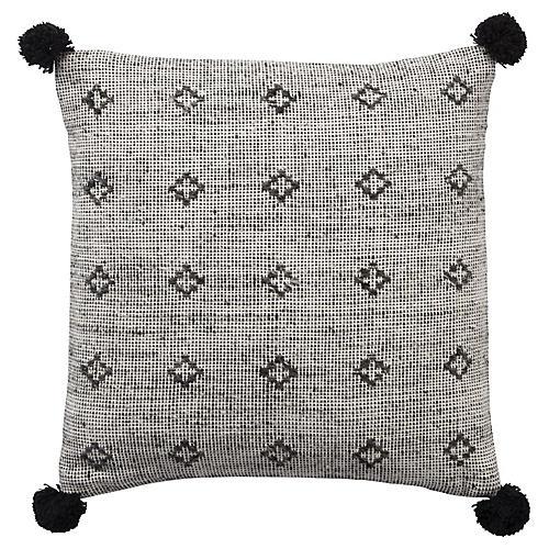 Berlynn 18x18 Pom-Pom Pillow, Gray/Black Linen