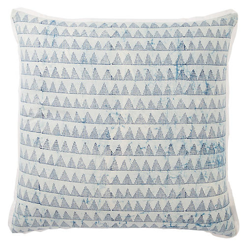 Yonah 22x22 Pillow, Blue/White
