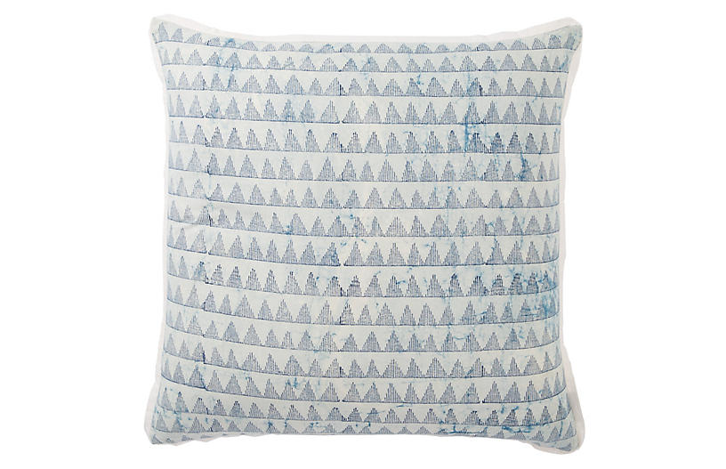 Yonah 22x22 Pillow, Blue/White