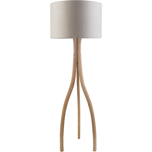 Edson Wishbone Floor Lamp, Natural