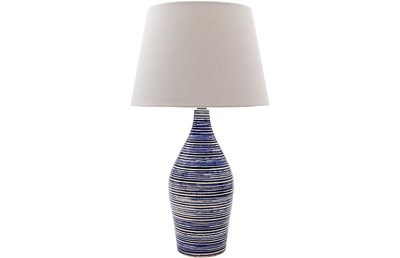 Bolton Table Lamp, Glazed Blue/White
