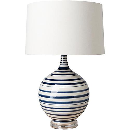 Delano Table Lamp, Blue/White
