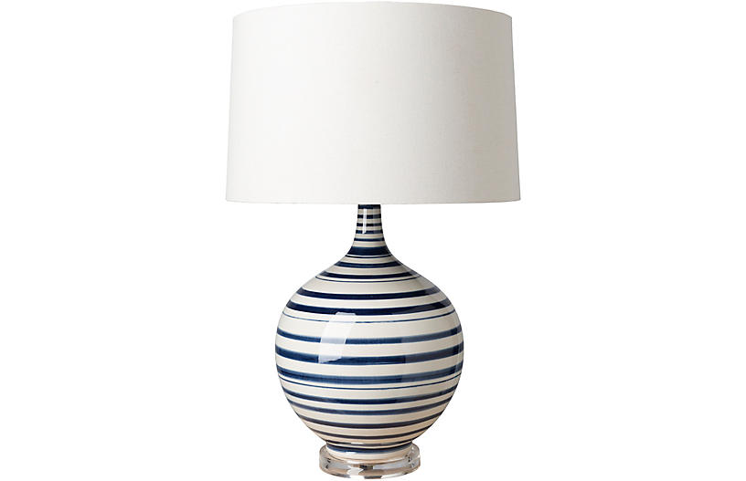 Delano Table Lamp, Blue/White