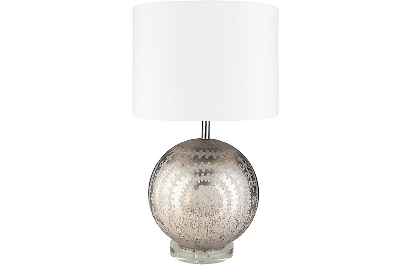 Baker Table Lamp, Antiqued/Etched Silver