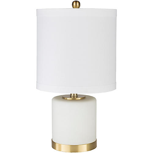Verona Table Lamp, Frosted White/Brass